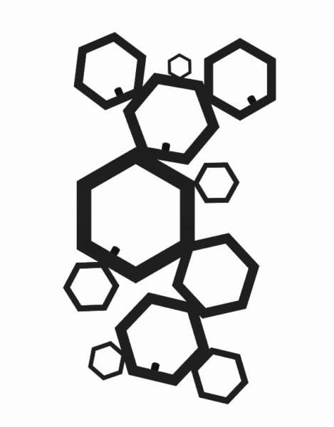 Wieszak na ubrania geometryczny Heksagon nowoczesny czarny