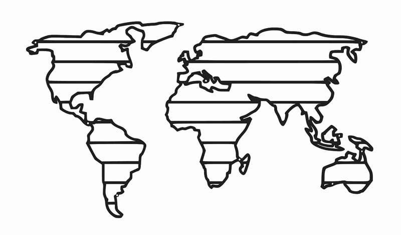 Metalowa mapa świata pasy dekoracja