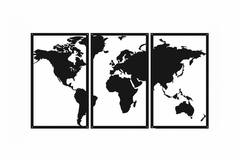 Obraz metalowy mapa świata tryptyk