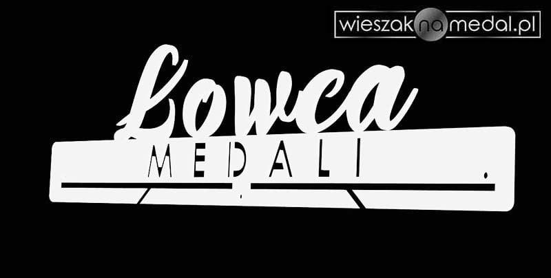 biały wieszak na medale łowca medali