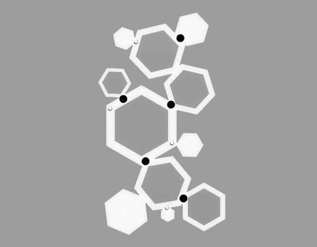 Biały wieszak do przedpokoju heksagon