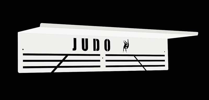 Biały wieszak na medale z półką judo