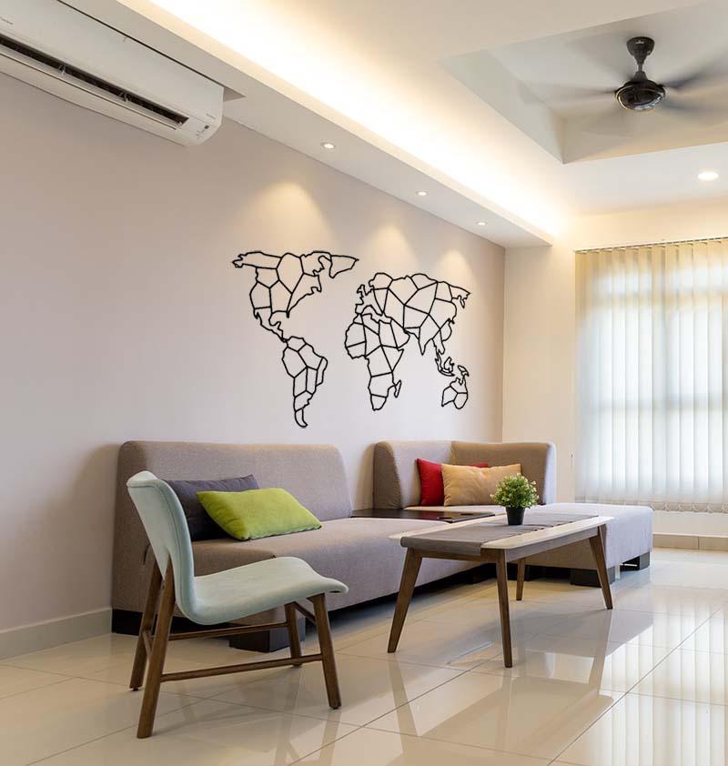 dekoracja do salonu mapa świata