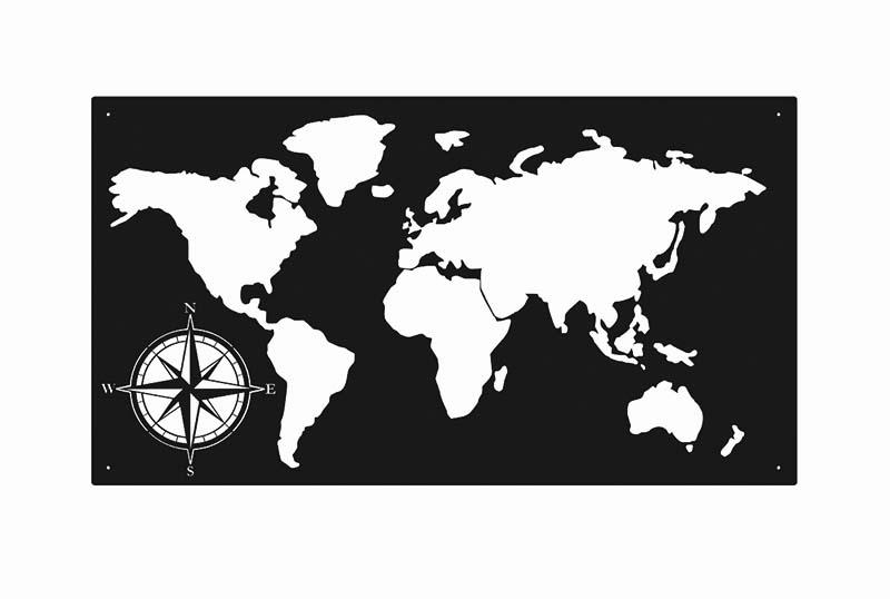 Duża metalowa mapa świata czarna