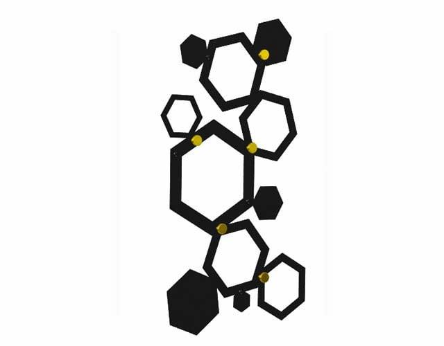 hexagon wieszak do przedpokoju czarno złoty