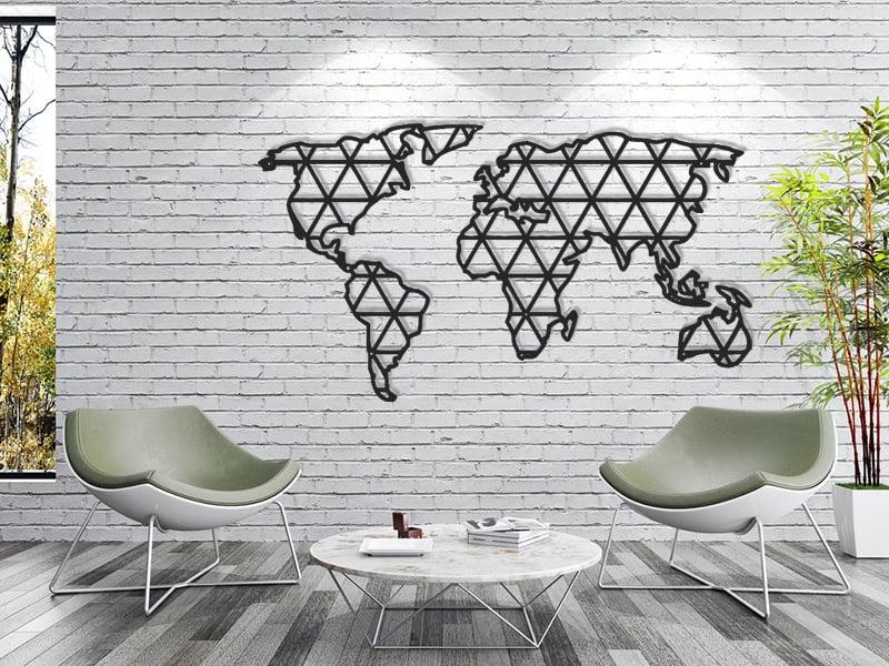 Mapa świata geometryczna w trójkąty