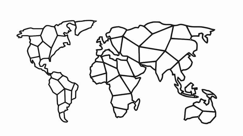 Mapa świata metalowa dekoracja geometryczna