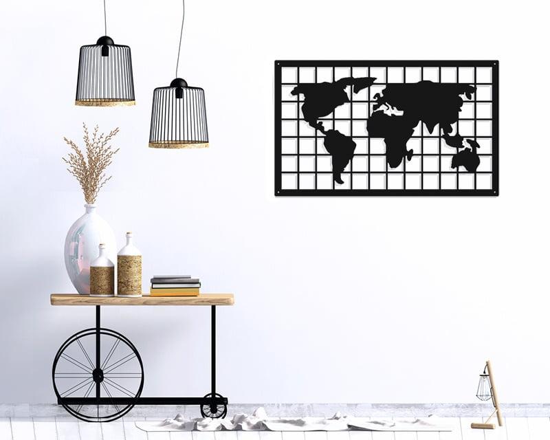 Mapa świata metalowa dekoracja ścienna
