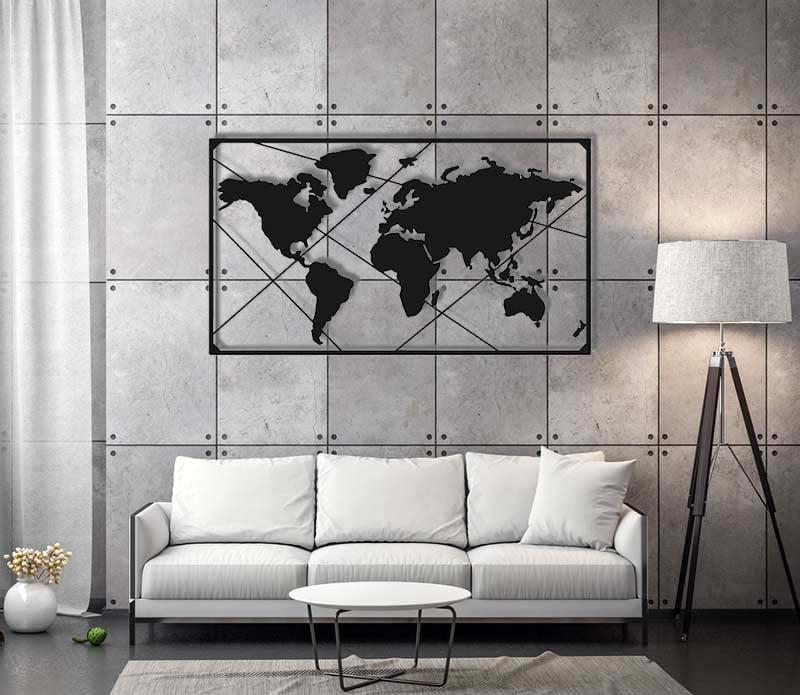 Mapa Świata Metalowa Na Ścianę