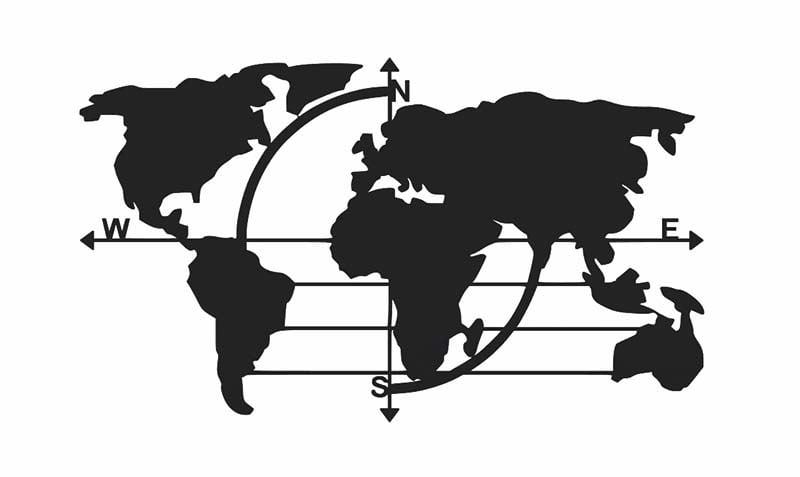 Mapa świata metalowa ścienna do salonu