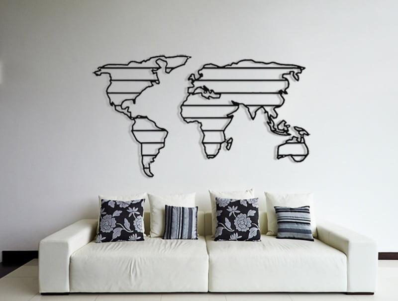 Mapa świata na ścianę metalowa pasy
