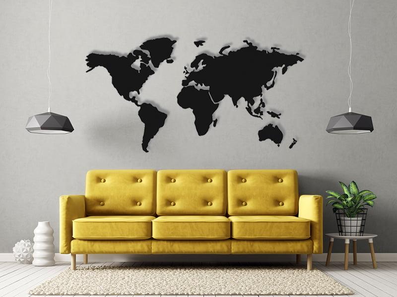 Mapa świata na ścianę metalowa