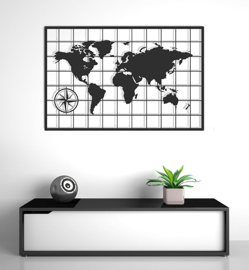 Mapa świata nowoczesna dekoracja ścienna