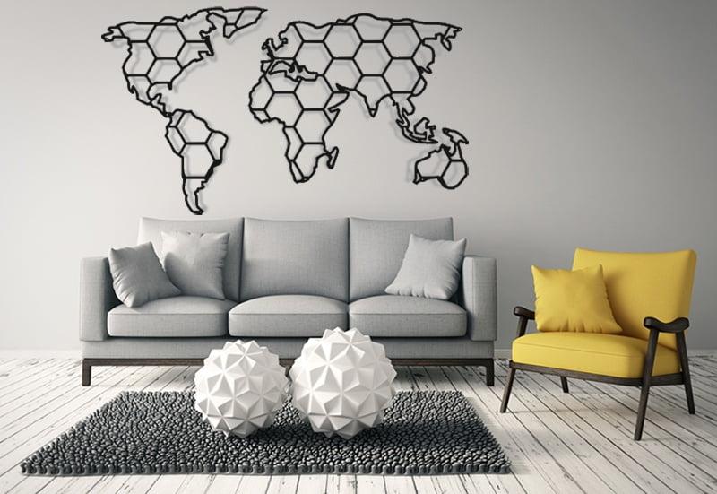 Mapa świata w kształcie plastra miodu