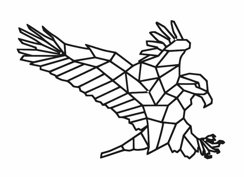 Metalowa dekoracja geometryczna ścienna orzeł