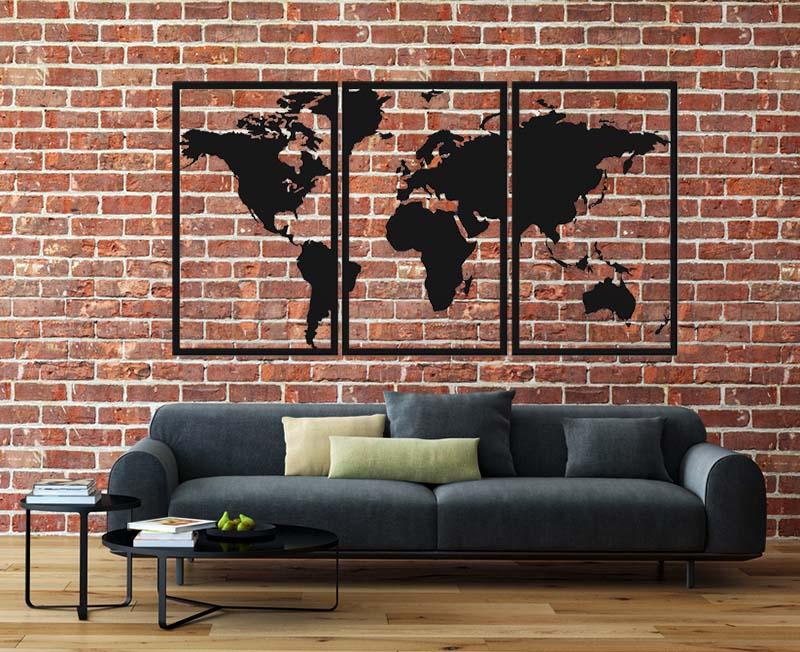 Metalowa dekoracja mapa świata tryptyk