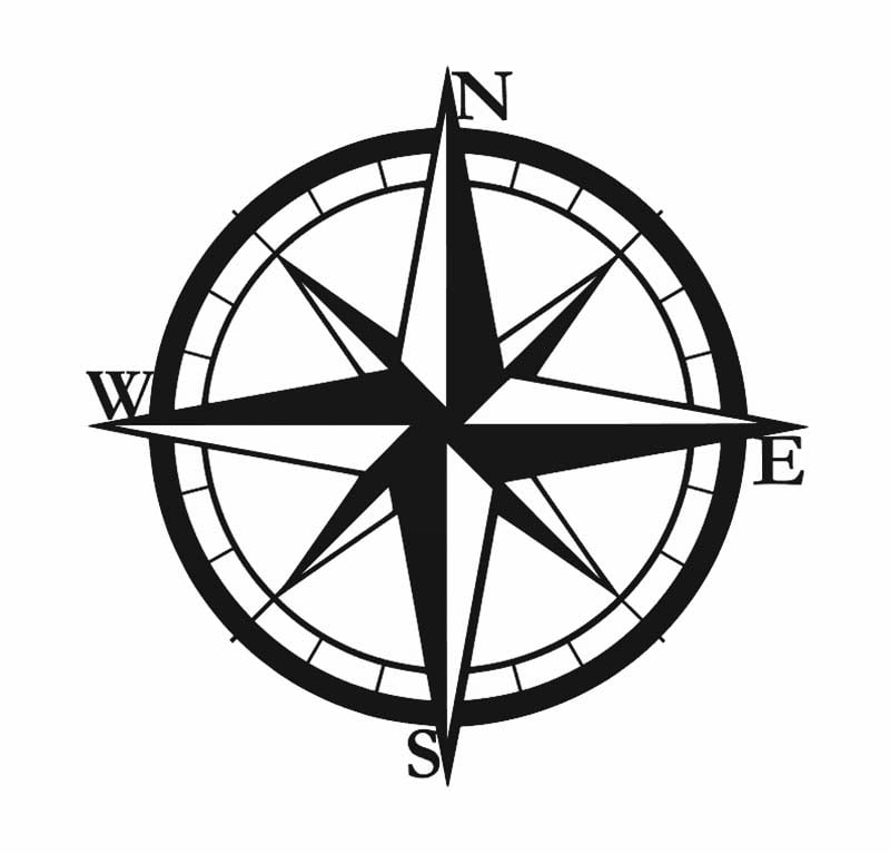 Metalowa dekoracja ścienna kompas czarny