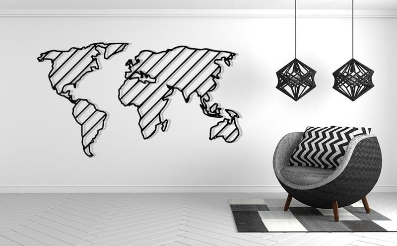 Metalowa dekoracja ścienna mapa świata