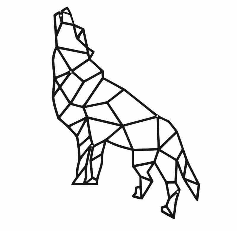 Metalowa dekoracja ścienna wilk geometryczny