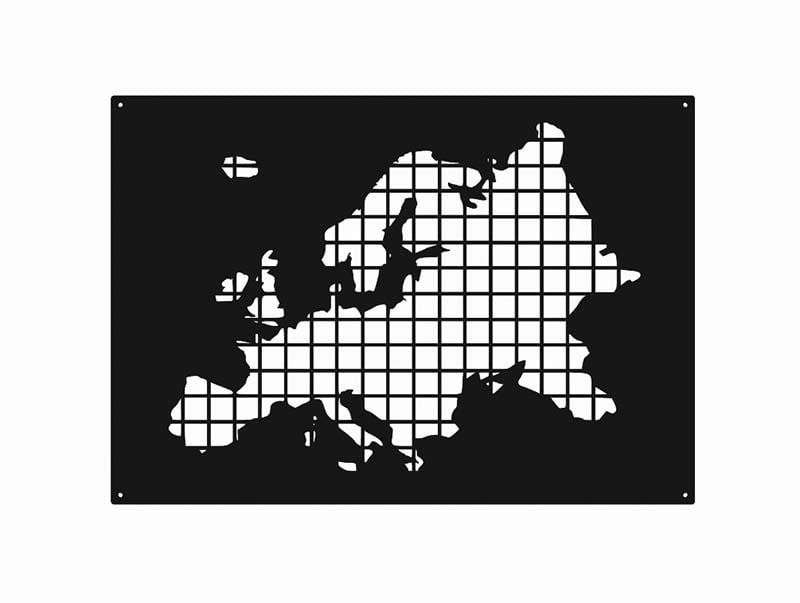 Metalowa mapa Europy wycinana laserowo