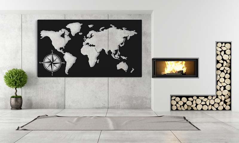 Metalowa mapa świata dekoracja na ścianę