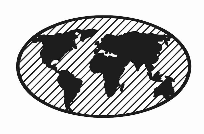 Metalowa mapa świata globus 3d