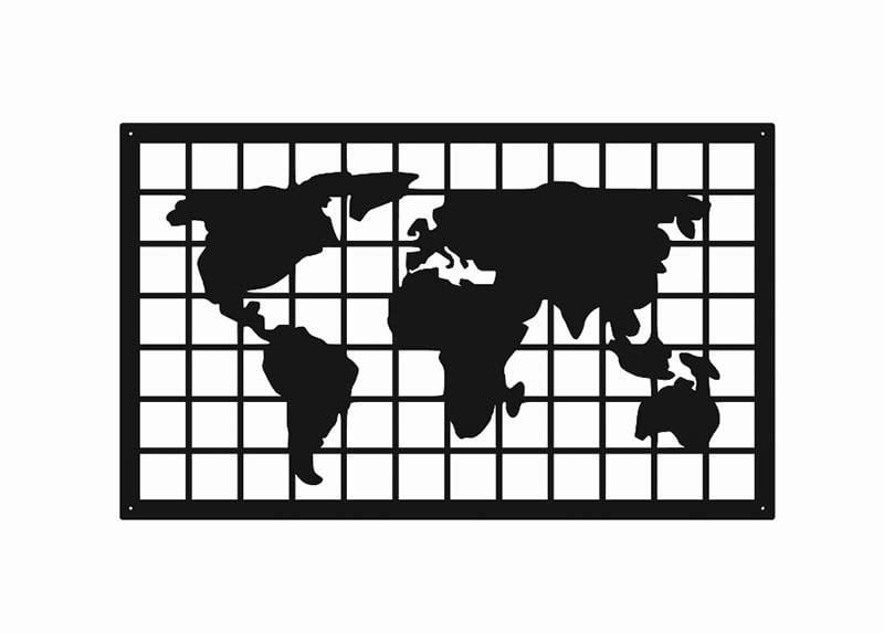 Metalowy obraz mapa świata kratka