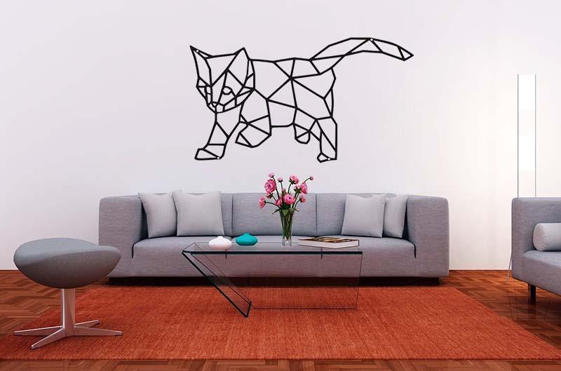 Nowoczesna dekoracja geometryczna z kotkiem