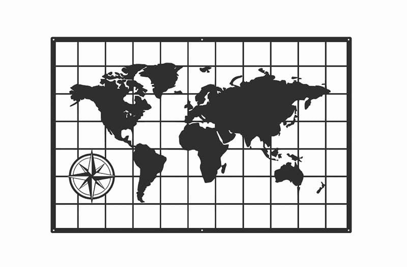 Nowoczesna mapa świata dekoracja ścienna