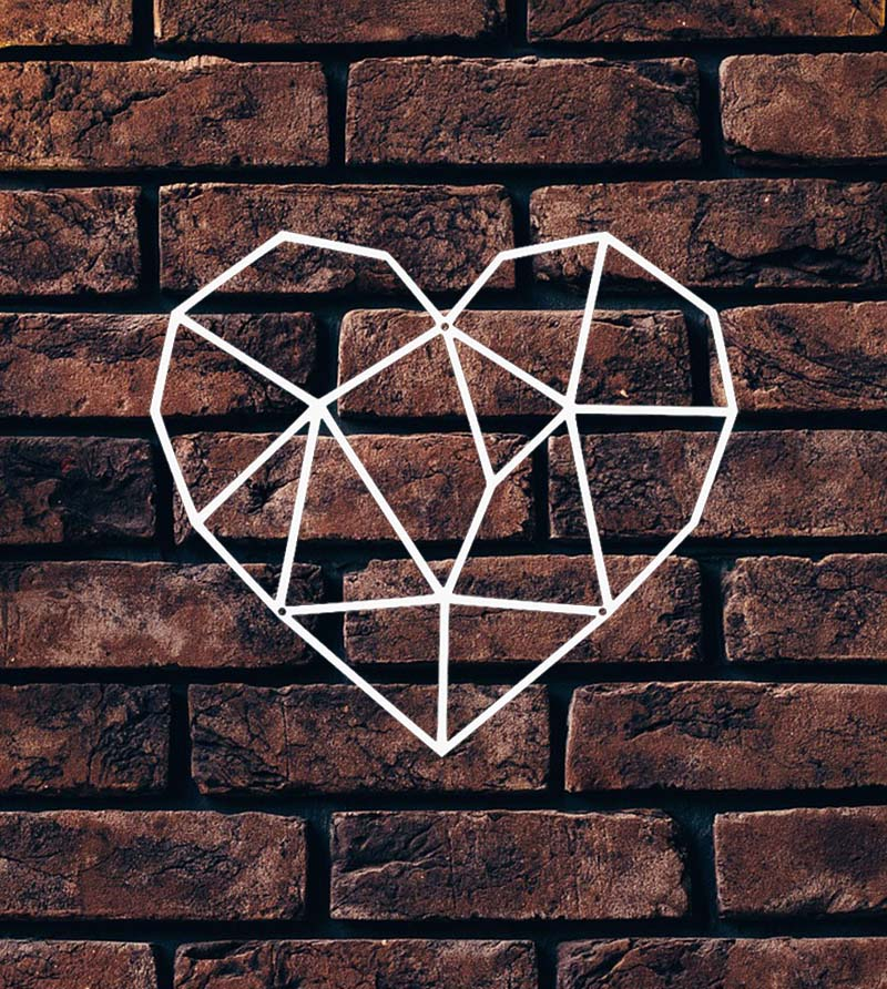 ścienna dekoracja metalowa serce białe
