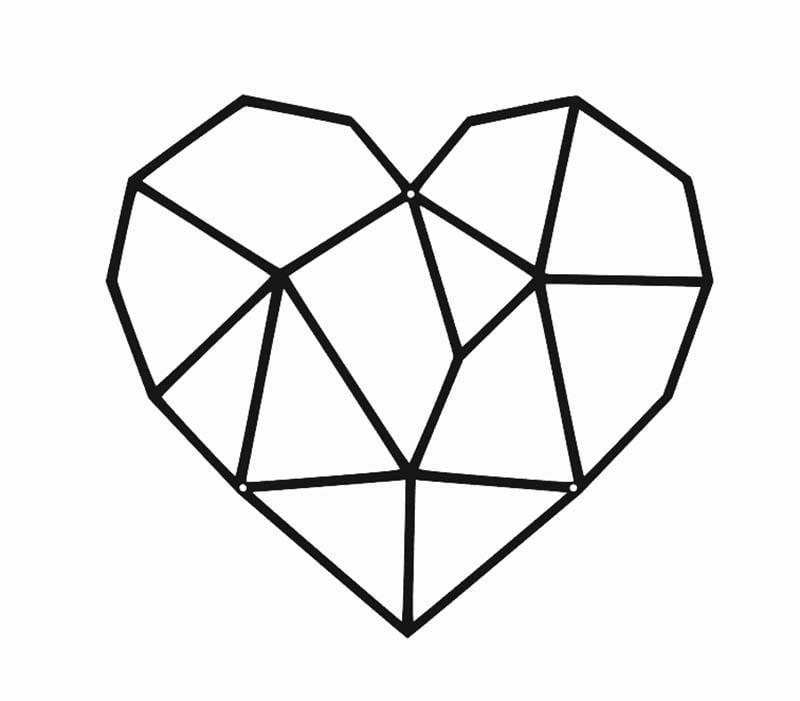 Serce metalowe dekoracyjne geometryczne