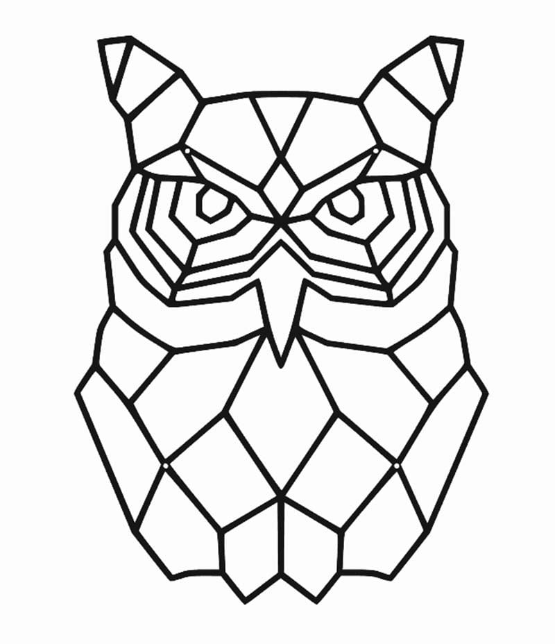 Sowa geometryczna dekoracja ścienna metalowa