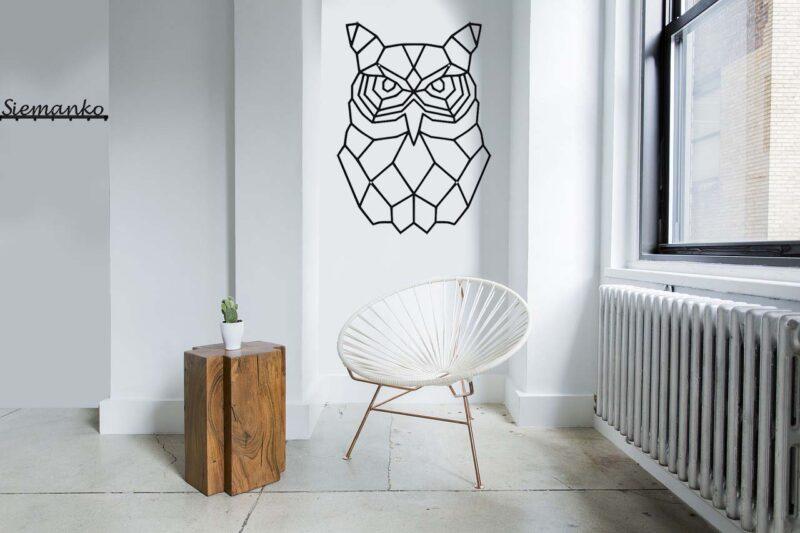Sowa metalowa geometryczna dekoracja ścienna