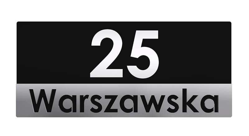 tabliczka z numerem domu czarno srebra