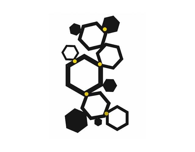 Wieszak do przedpokoju heksagon złote uchwyty