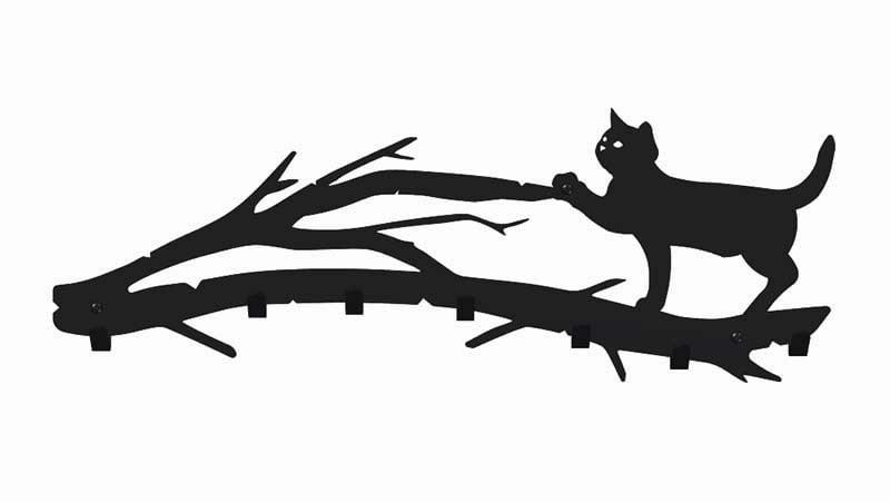 Wieszak do przedpokoju kot na gałęzi