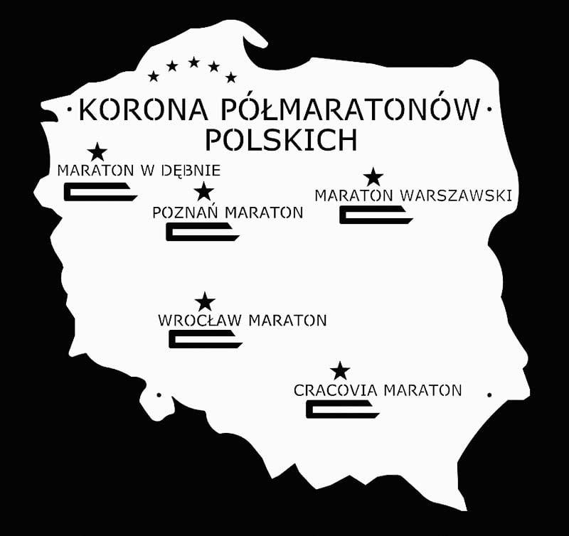 Wieszak na medale korona półmaratonów polskich biały