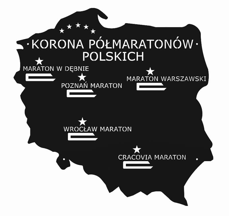 Wieszak na medale korona półmaratonów polskich