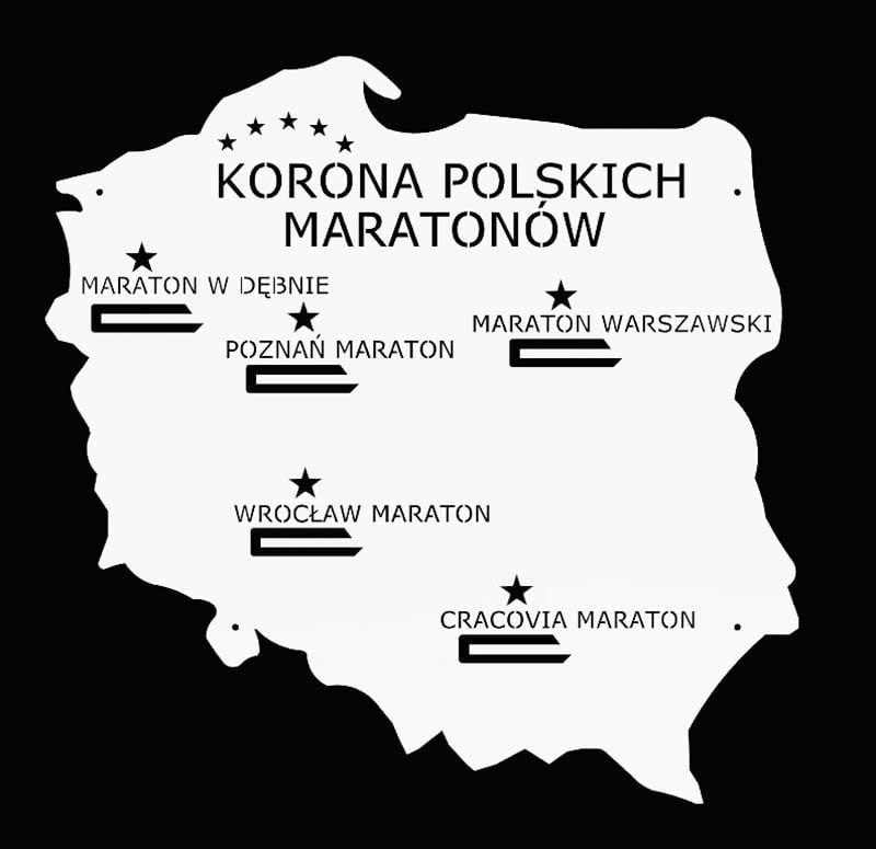 wieszak na medale korona polskich maratonów biały