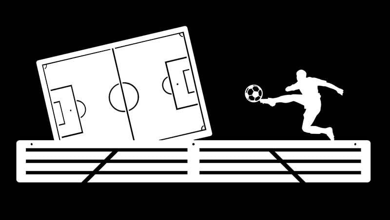 Wieszak na medale piłka nożna biały boisko piłkarskie