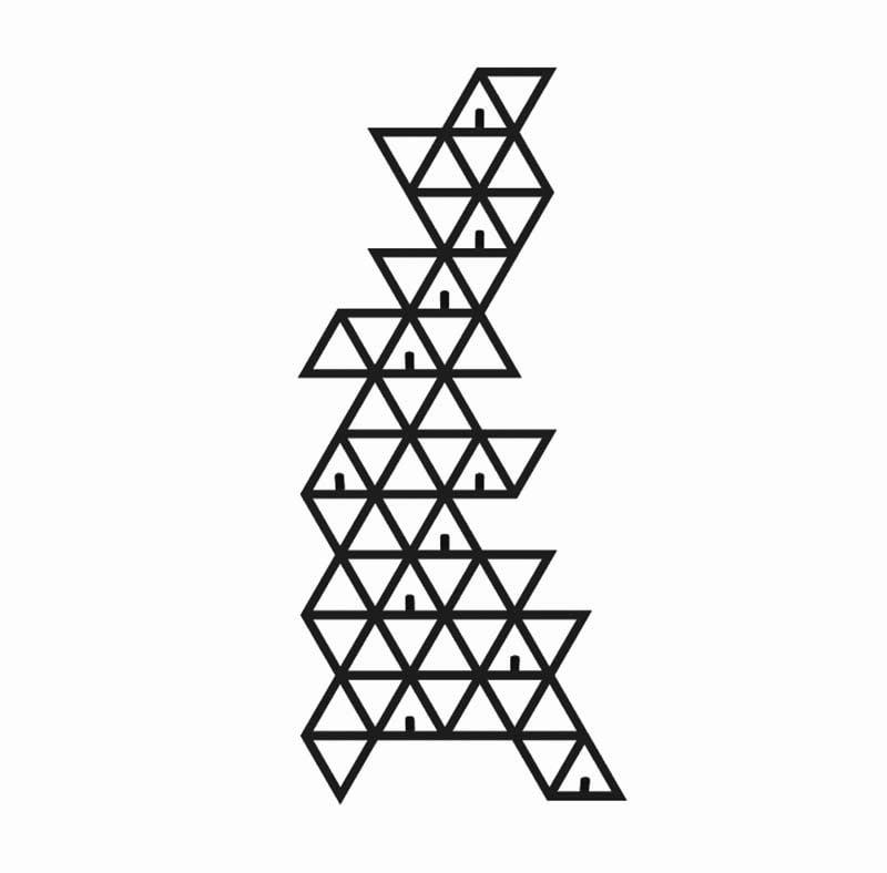 Wieszak na ścianę geometryczny trójkąty