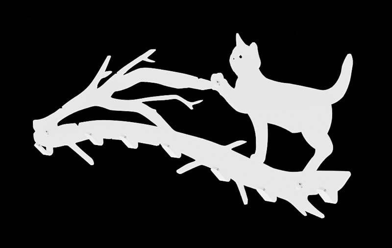 Wieszak na ubrania kot na gałęzi biały