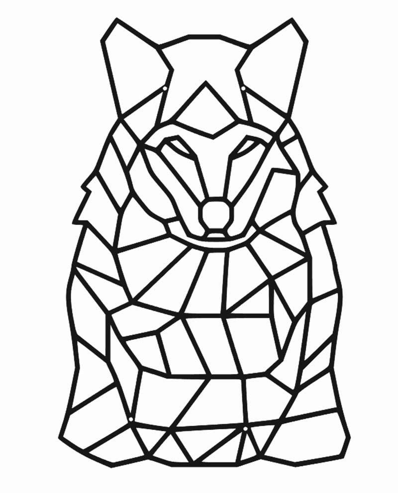 Wilk geometryczny dekoracja z metalu